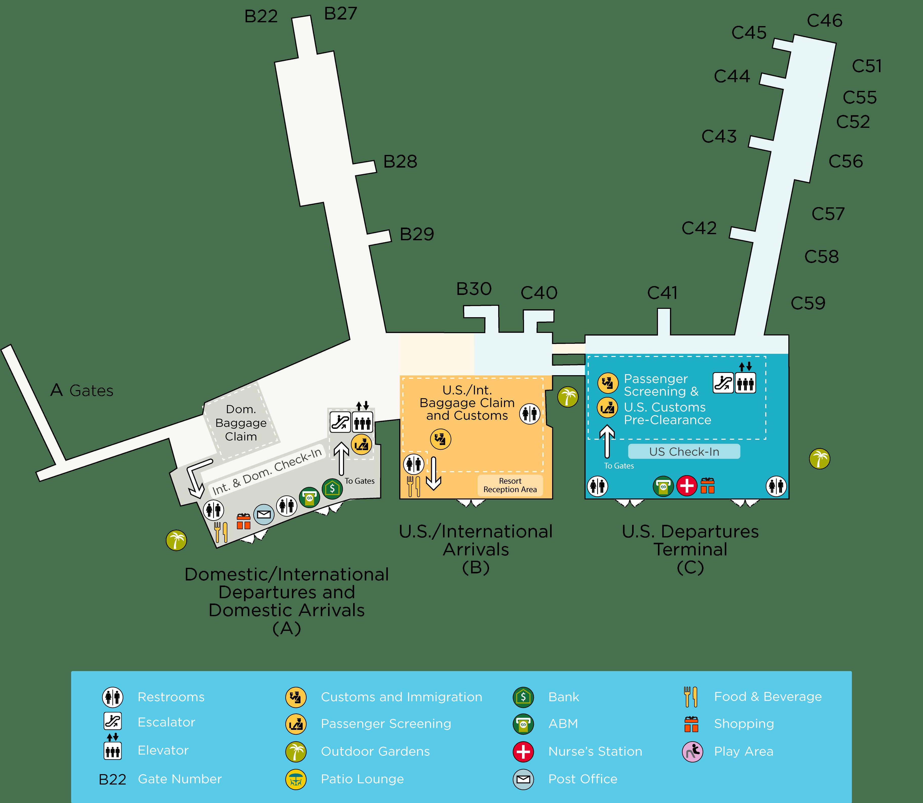 Terminal Maps Lynden Pindling International Airport