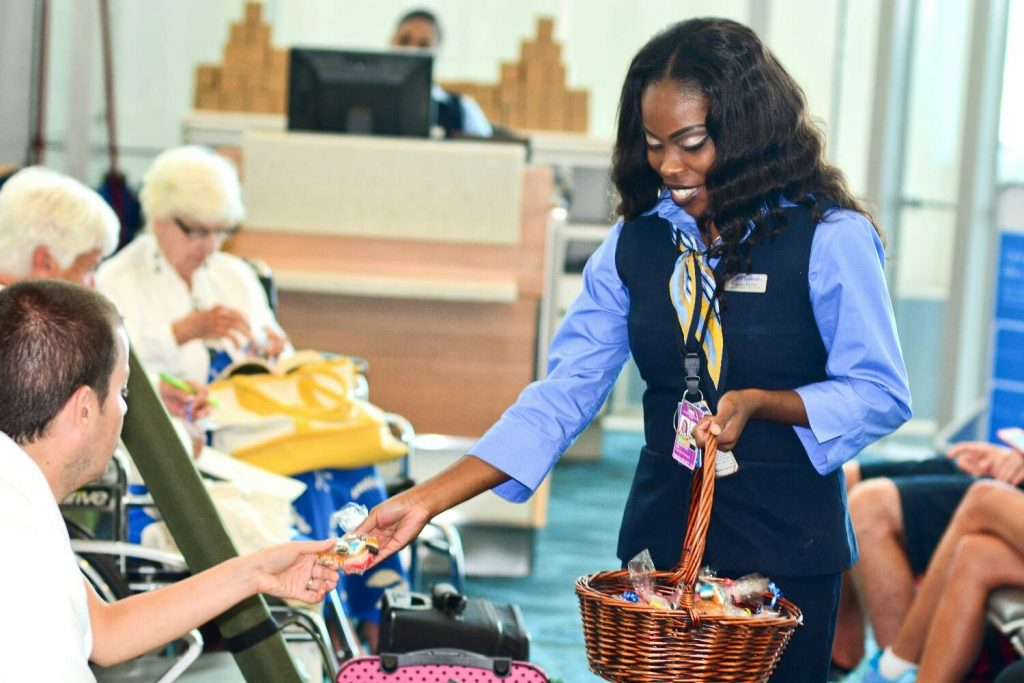 Passengers receive Bahamian treats in celebration of Southwest 45th Anniversary