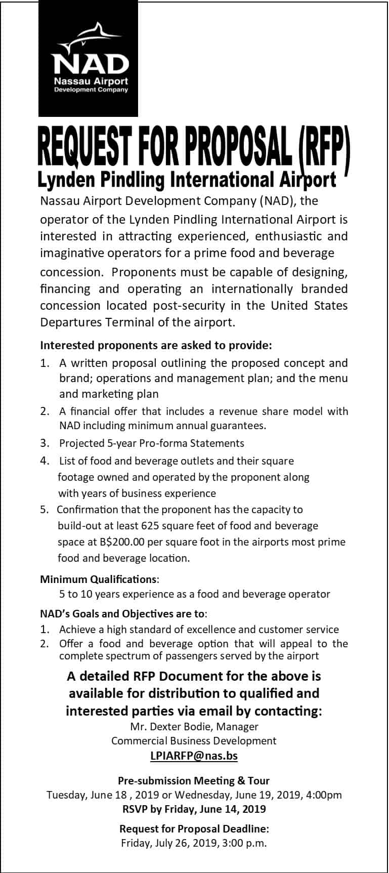 Request For Proposal (RFP) – Lynden Pindling International Airport